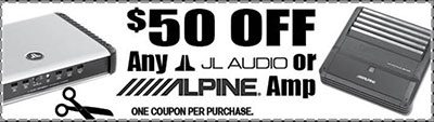 Sound Specials: Get $50 off any JL audio or Alpine amp, only at Sounds Good To Me in Tempe, AZ: