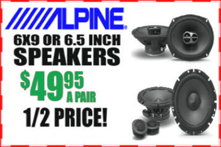 HALF PRICE SALE! Get a pair of 6x9 or 6.5 inch Alpine Speakers for $49.95 at Sounds Good To Me in Tempe AZ