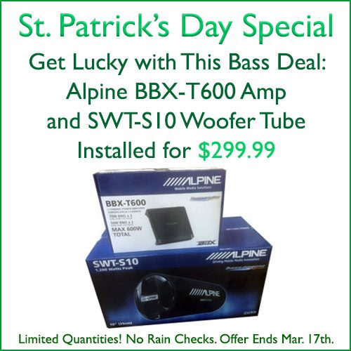 "St. Patrick's Day Special in Tempe, Arizona: Alpine Bass Deal. Get an Alpine BBX-T600 Amplifier, 600 watt 2 channels, and an Alpine SWT-S10 woofer tube, 1200 watt 10"", installed for $299.99 at Sounds Good To Me"