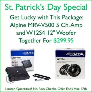 """Get an Alpine V-Power MRV-V500 5 Channel Amp AND an Alpine W12S4 12"""" Woofer together for $299.95 at Sounds Good To Me in Tempe, AZ. Limited quantities, and no rain checks. Offer expires March 17th, 2019"""
