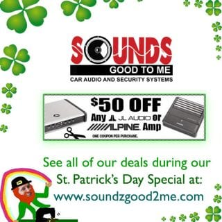 Sound Specials: Get $50 off any JL audio or Alpine amp, now through March 14th only at Sounds Good To Me in Tempe, AZ: