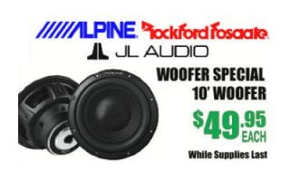 score 10' woofers by Alpine, Roxford Fosgate and JL Audio for $49.95 each while supplies last at Sounds Good To Me in Tempe AZ near Phoenix