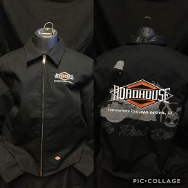 Roadhouse: Men's Dickies Jacket with Mark Cartoon Art - Back